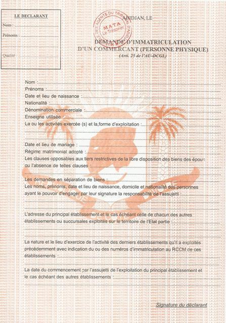 Formulaire de demande d'immatriculation d'un commerçant ( personne ...